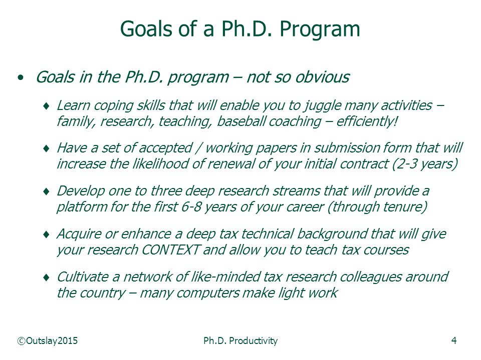 ©Outslay2015Ph.D. Productivity4 Goals in the Ph.D.
