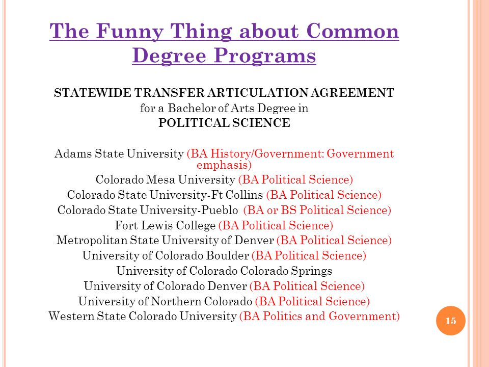 The Funny Thing about Common Degree Programs STATEWIDE TRANSFER ARTICULATION AGREEMENT for a Bachelor of Arts Degree in POLITICAL SCIENCE Adams State University (BA History/Government: Government emphasis) Colorado Mesa University (BA Political Science) Colorado State University-Ft Collins (BA Political Science) Colorado State University-Pueblo (BA or BS Political Science) Fort Lewis College (BA Political Science) Metropolitan State University of Denver (BA Political Science) University of Colorado Boulder (BA Political Science) University of Colorado Colorado Springs University of Colorado Denver (BA Political Science) University of Northern Colorado (BA Political Science) Western State Colorado University (BA Politics and Government) 15