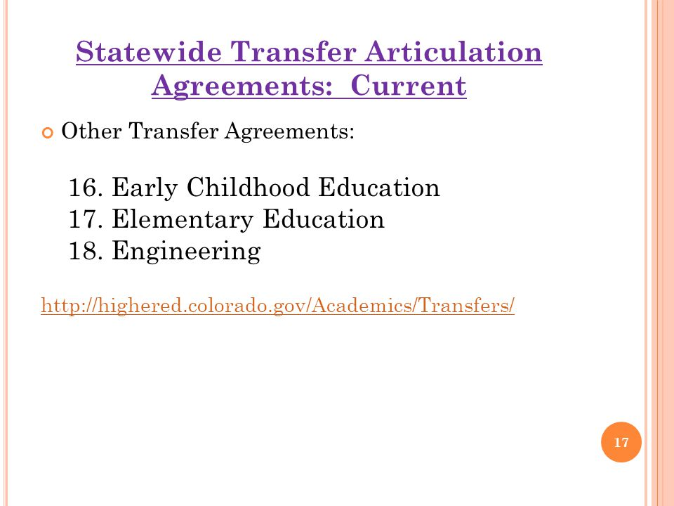 Statewide Transfer Articulation Agreements: Current Other Transfer Agreements: 16.