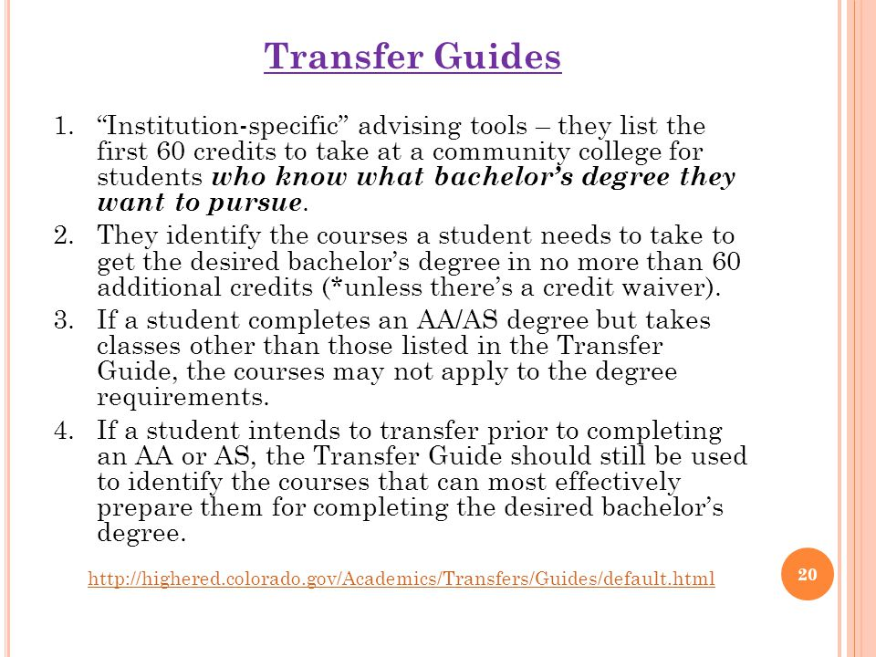 Transfer Guides 1. Institution-specific advising tools – they list the first 60 credits to take at a community college for students who know what bachelor's degree they want to pursue.