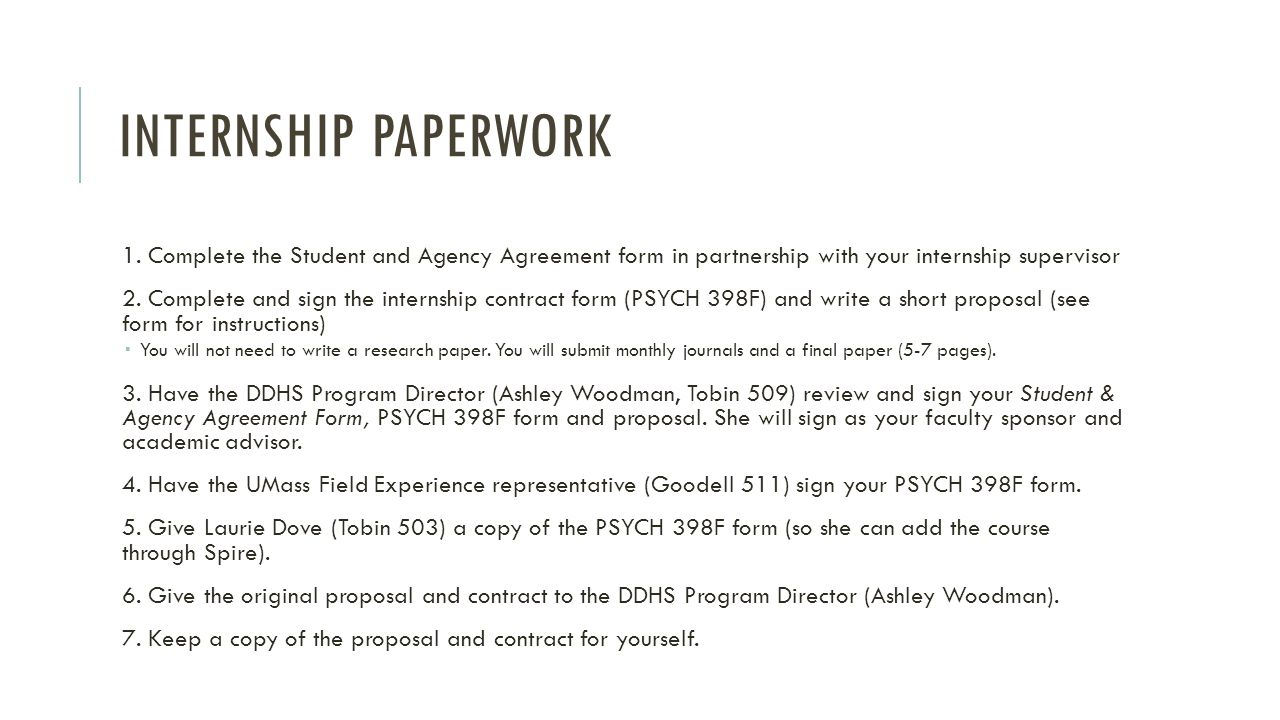 INTERNSHIP REQUIREMENTS Monthly journals The journal helps you track your progress and gives the Program Director a window into your internship experience.