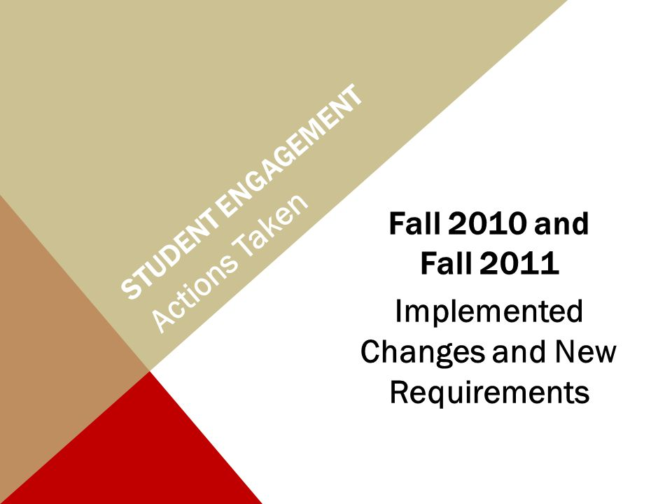 STUDENT ENGAGEMENT Fall 2010 and Fall 2011 Implemented Changes and New Requirements Actions Taken