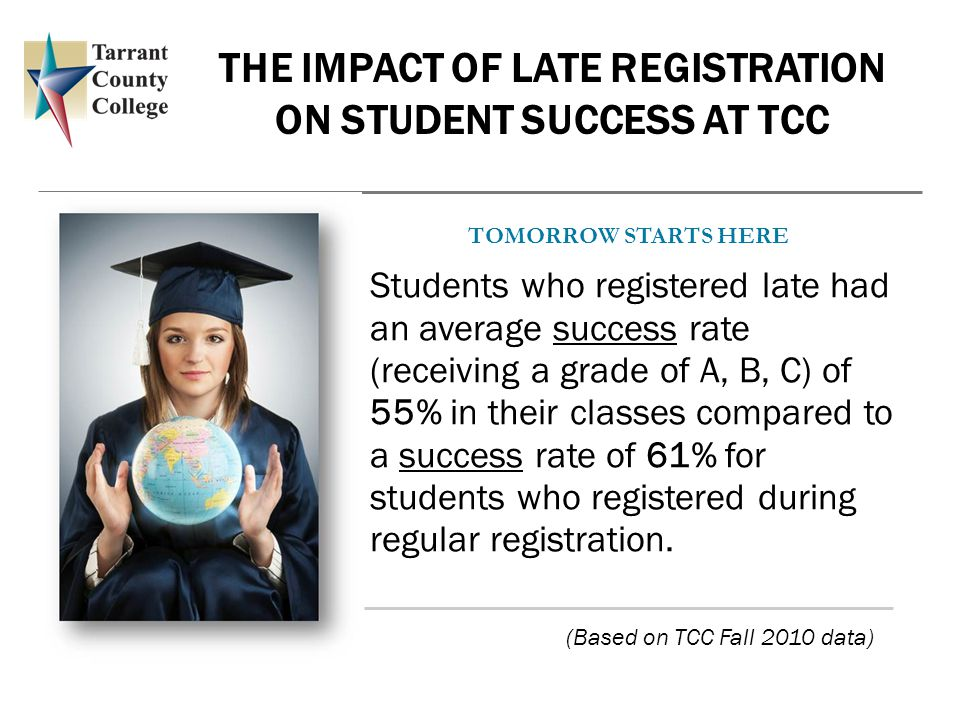 THE IMPACT OF LATE REGISTRATION ON STUDENT SUCCESS AT TCC Students who registered late had an average success rate (receiving a grade of A, B, C) of 55% in their classes compared to a success rate of 61% for students who registered during regular registration.