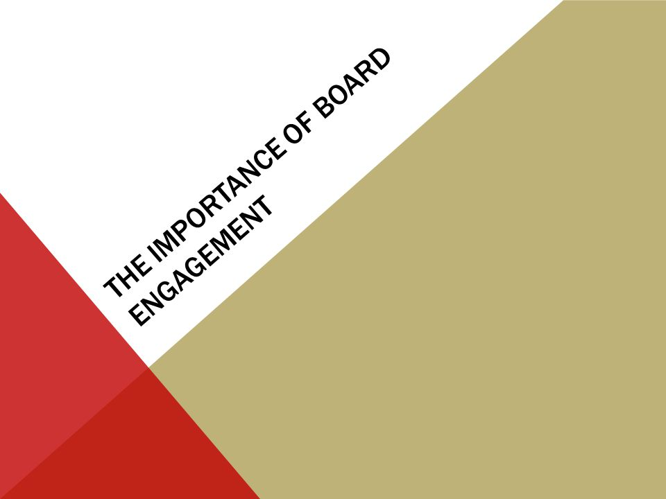 THE IMPORTANCE OF BOARD ENGAGEMENT