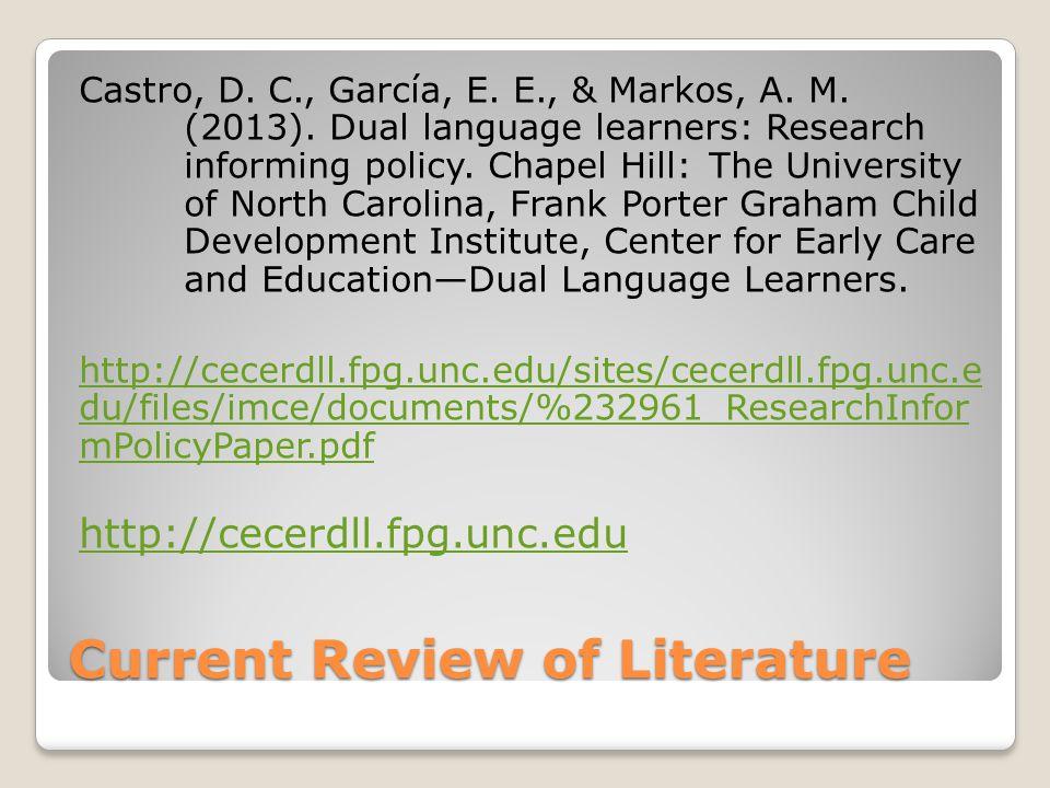 Current Review of Literature Castro, D. C., García, E.