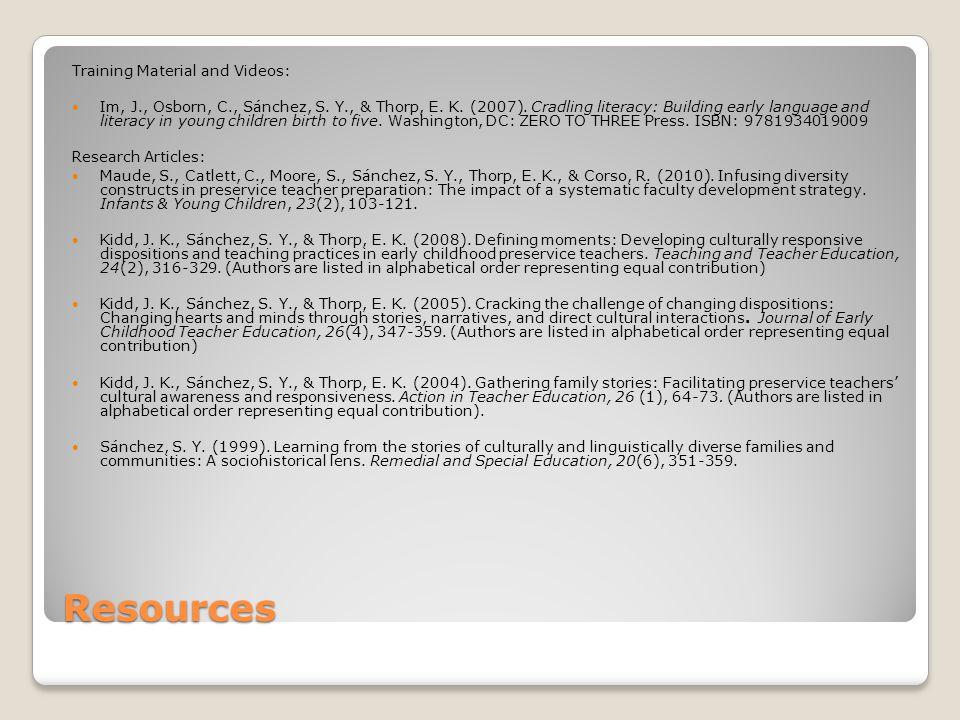 Resources Training Material and Videos: Im, J., Osborn, C., Sánchez, S.
