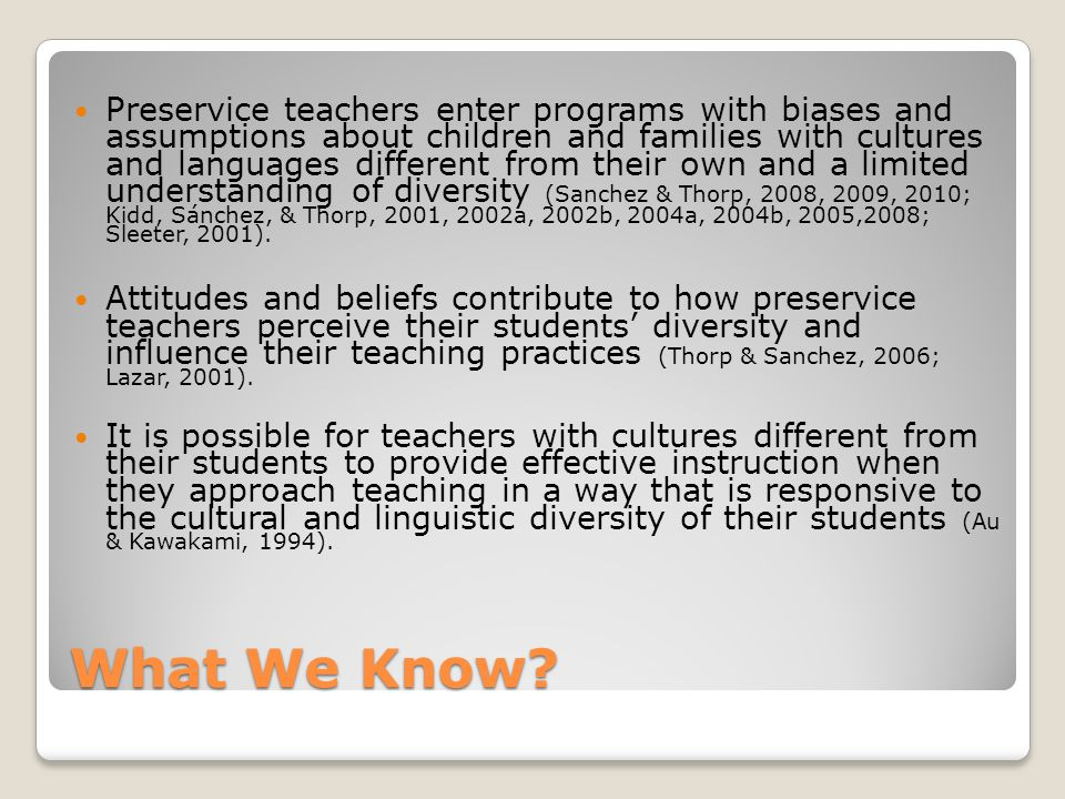 What do we know about Teacher Preparation and Diversity.