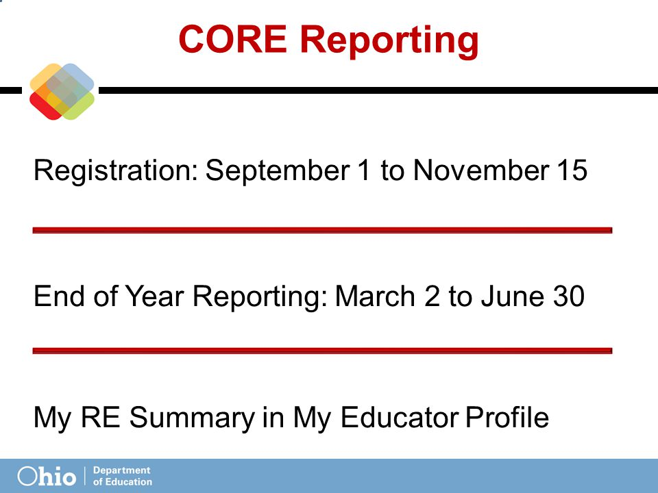 CORE Reporting Registration: September 1 to November 15 End of Year Reporting: March 2 to June 30 My RE Summary in My Educator Profile