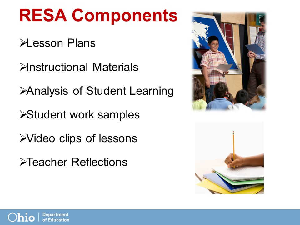  Lesson Plans  Instructional Materials  Analysis of Student Learning  Student work samples  Video clips of lessons  Teacher Reflections RESA Components