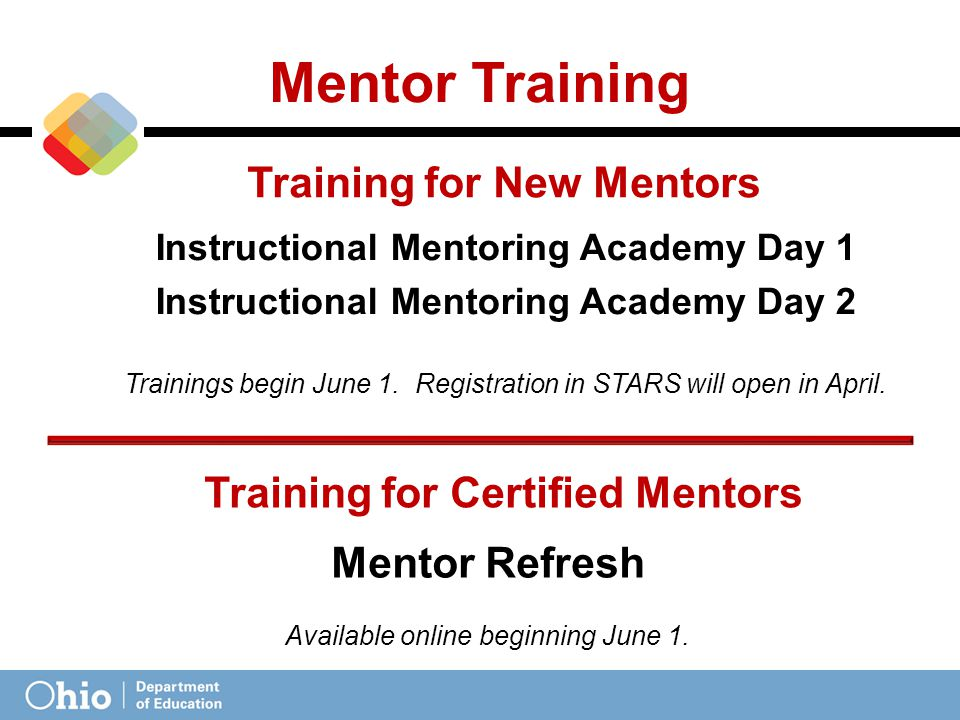Mentor Training Instructional Mentoring Academy Day 1 Instructional Mentoring Academy Day 2 Trainings begin June 1.
