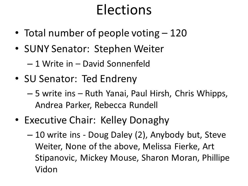 Elections Total number of people voting – 120 SUNY Senator: Stephen Weiter – 1 Write in – David Sonnenfeld SU Senator: Ted Endreny – 5 write ins – Ruth Yanai, Paul Hirsh, Chris Whipps, Andrea Parker, Rebecca Rundell Executive Chair: Kelley Donaghy – 10 write ins - Doug Daley (2), Anybody but, Steve Weiter, None of the above, Melissa Fierke, Art Stipanovic, Mickey Mouse, Sharon Moran, Phillipe Vidon