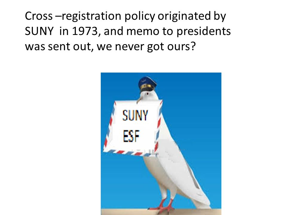 Cross –registration policy originated by SUNY in 1973, and memo to presidents was sent out, we never got ours?