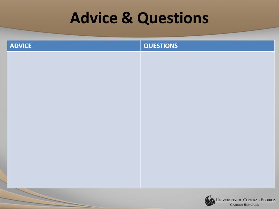 Advice & Questions ADVICEQUESTIONS