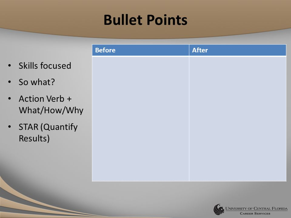 Bullet Points Skills focused So what.
