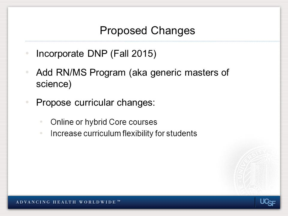Proposed Changes Incorporate DNP (Fall 2015) Add RN/MS Program (aka generic masters of science) Propose curricular changes: Online or hybrid Core courses Increase curriculum flexibility for students