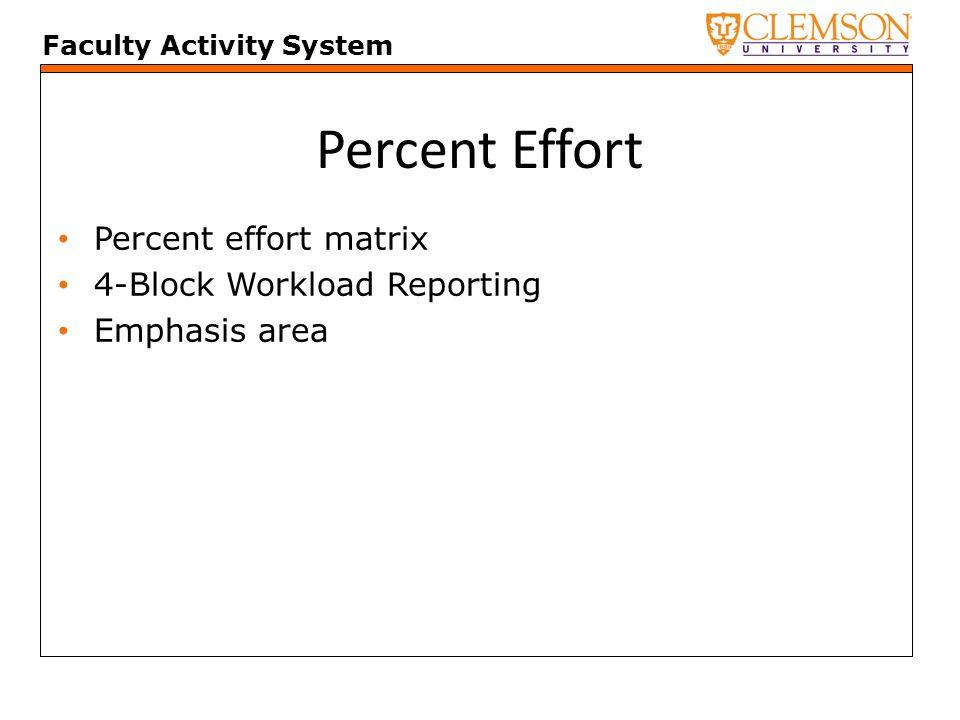 Faculty Activity System Percent Effort Percent effort matrix 4-Block Workload Reporting Emphasis area