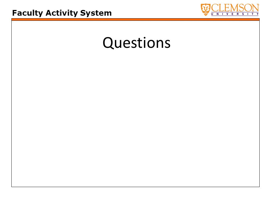 Faculty Activity System Questions