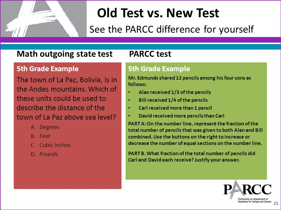 Old Test vs. New Test 21 See the PARCC difference for yourself 5th Grade Example Mr. Edmunds shared 12 pencils among his four sons as follows: Alan re