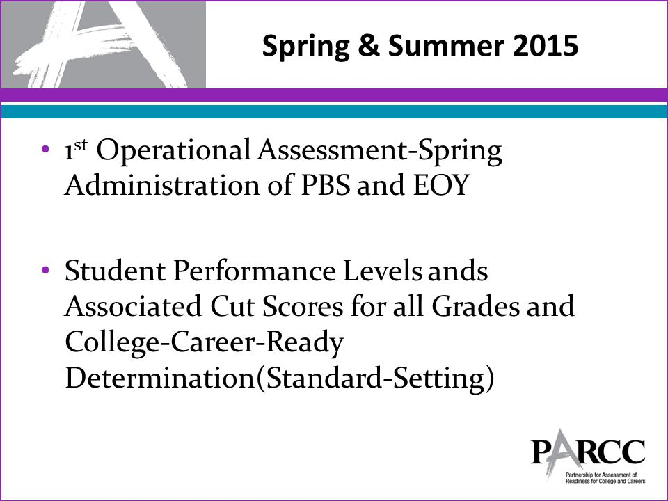 1 st Operational Assessment-Spring Administration of PBS and EOY Student Performance Levels ands Associated Cut Scores for all Grades and College-Career-Ready Determination(Standard-Setting) Spring & Summer 2015