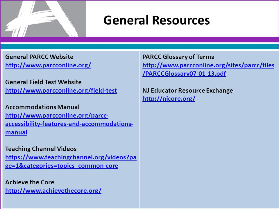 General Resources General PARCC Website http://www.parcconline.org/ General Field Test Website http://www.parcconline.org/field-test Accommodations Manual http://www.parcconline.org/parcc- accessibility-features-and-accommodations- manual Teaching Channel Videos https://www.teachingchannel.org/videos?pa ge=1&categories=topics_common-core Achieve the Core http://www.achievethecore.org/ PARCC Glossary of Terms http://www.parcconline.org/sites/parcc/files /PARCCGlossary07-01-13.pdf NJ Educator Resource Exchange http://njcore.org/