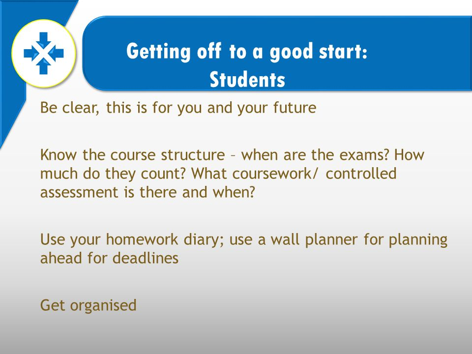Be clear, this is for you and your future Know the course structure – when are the exams.