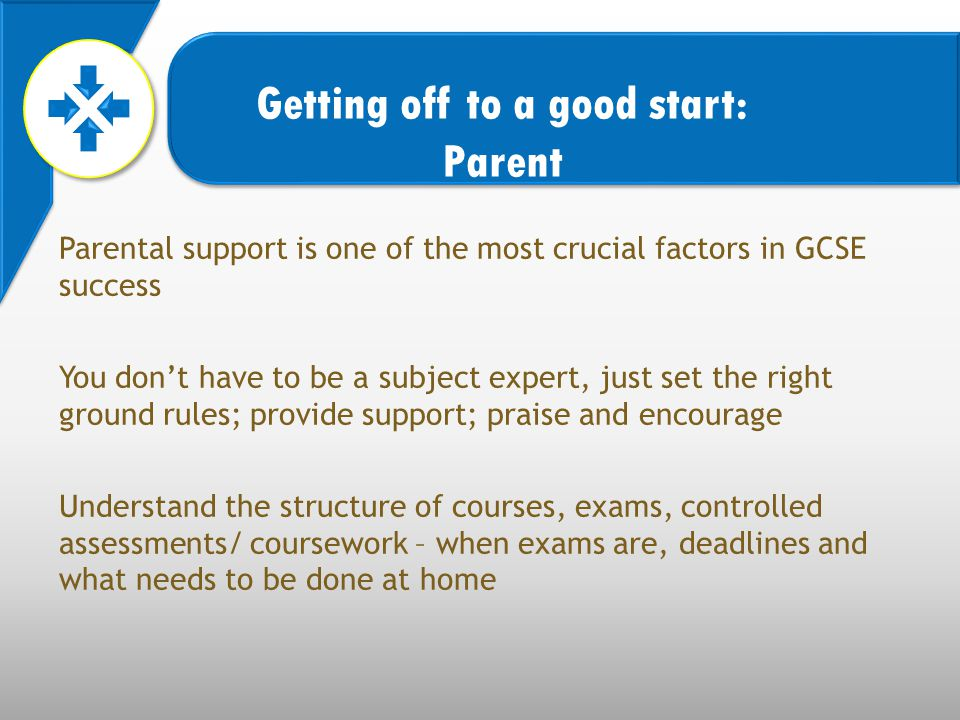 Parental support is one of the most crucial factors in GCSE success You don't have to be a subject expert, just set the right ground rules; provide support; praise and encourage Understand the structure of courses, exams, controlled assessments/ coursework – when exams are, deadlines and what needs to be done at home Getting off to a good start: Parent