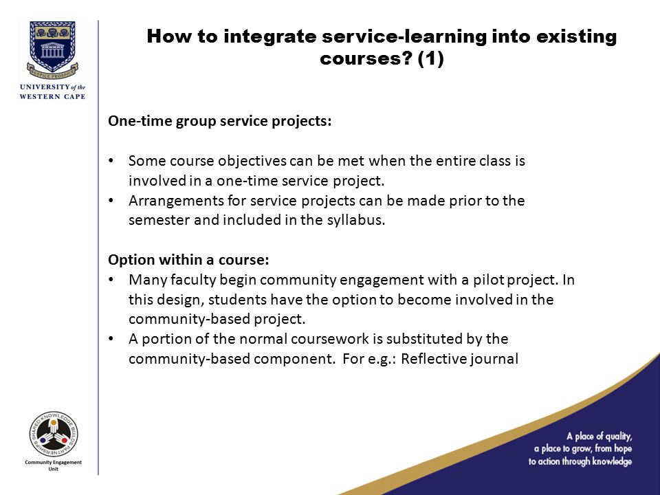 How to integrate service-learning into existing courses.