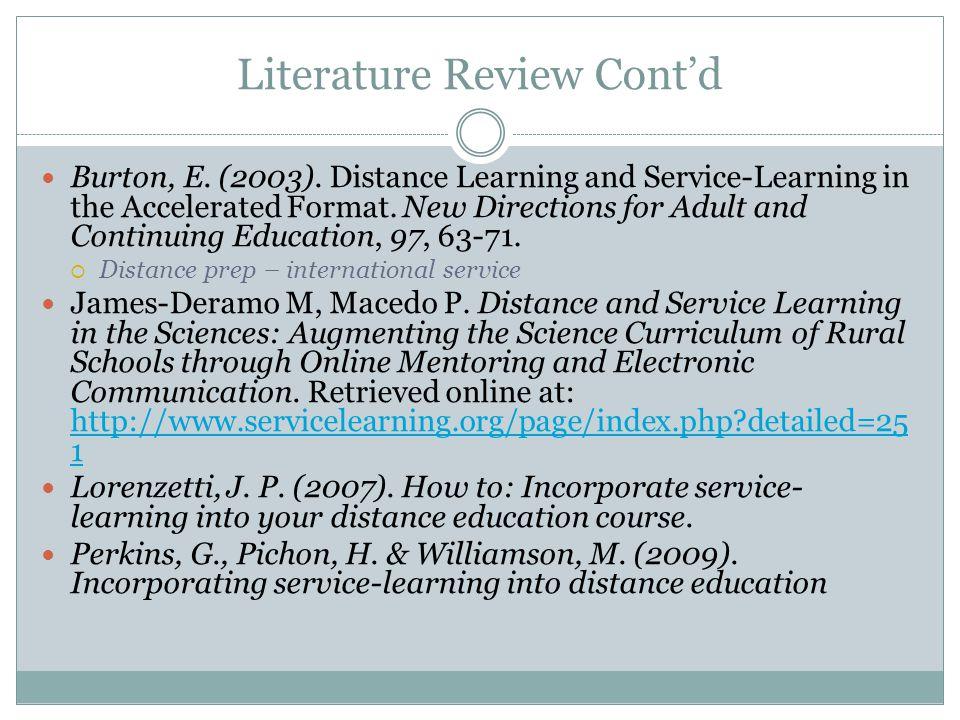 Literature Review Cont'd Burton, E. (2003).