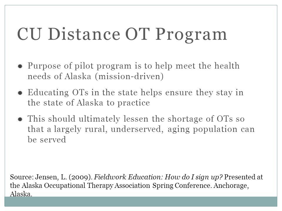CU Distance OT Program Source: Jensen, L. (2009).