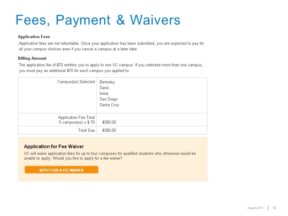 42 Fees, Payment & Waivers August 2014