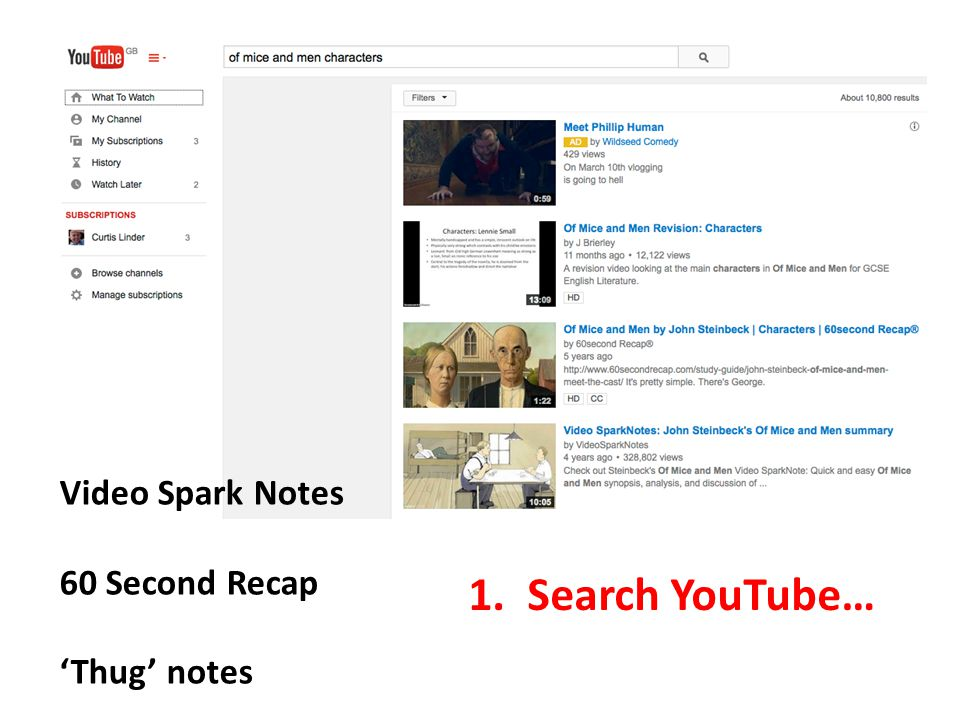 Video Spark Notes 60 Second Recap 'Thug' notes 1. Search YouTube…