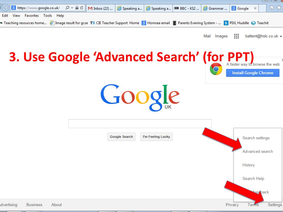 3. Use Google 'Advanced Search' (for PPT)