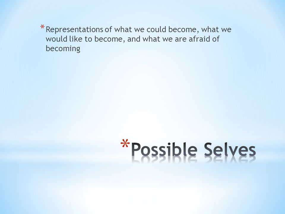 * Representations of what we could become, what we would like to become, and what we are afraid of becoming