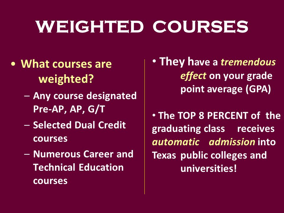WEIGHTED COURSES What courses are weighted.