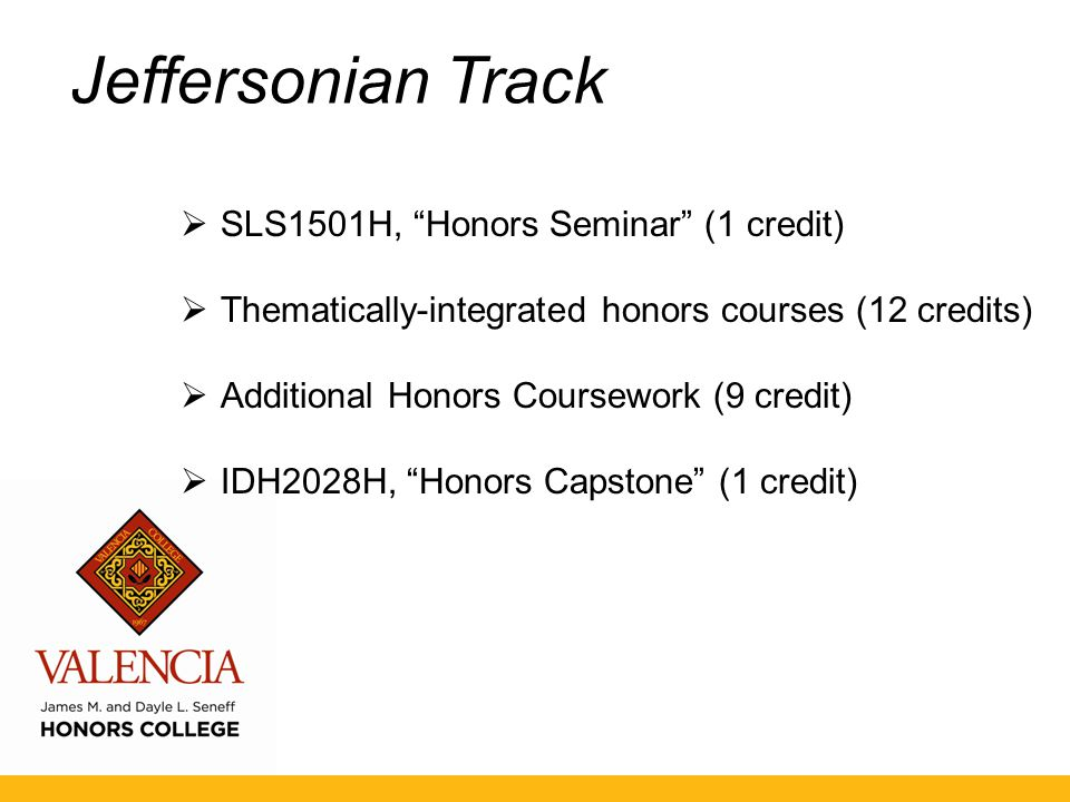 Jeffersonian Track  SLS1501H, Honors Seminar (1 credit)  Thematically-integrated honors courses (12 credits)  Additional Honors Coursework (9 credit)  IDH2028H, Honors Capstone (1 credit)