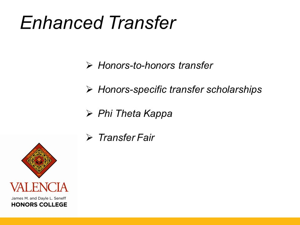 Enhanced Transfer  Honors-to-honors transfer  Honors-specific transfer scholarships  Phi Theta Kappa  Transfer Fair