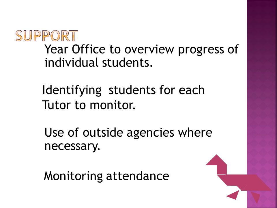 Year Office to overview progress of individual students.