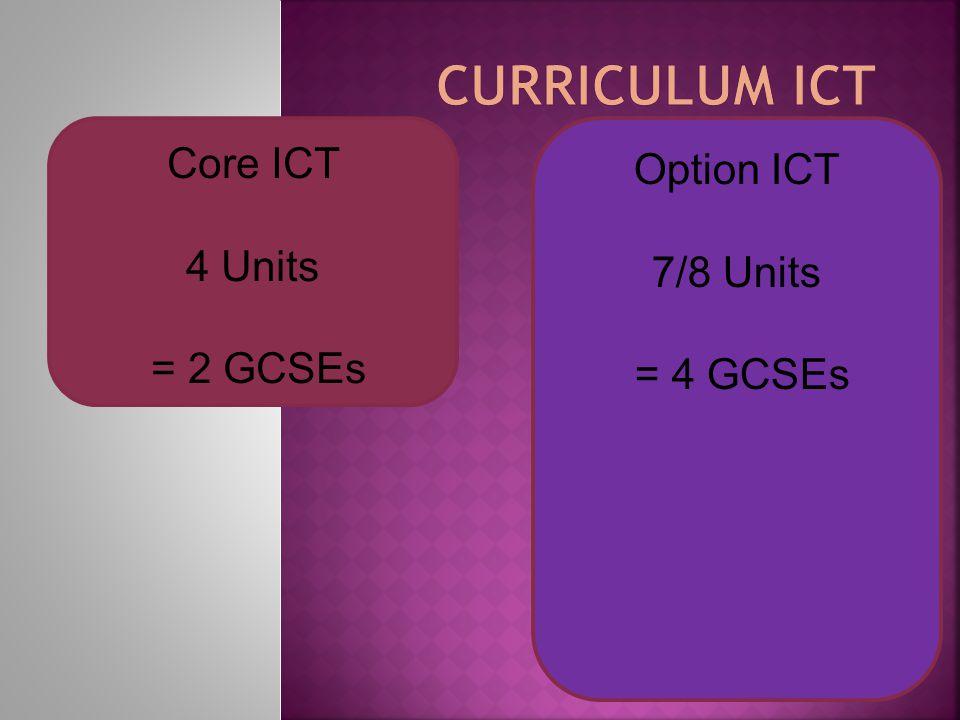 Option ICT 7/8 Units = 4 GCSEs Core ICT 4 Units = 2 GCSEs