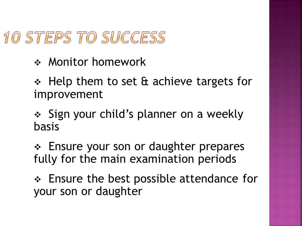  Monitor homework  Help them to set & achieve targets for improvement  Sign your child's planner on a weekly basis  Ensure your son or daughter prepares fully for the main examination periods  Ensure the best possible attendance for your son or daughter