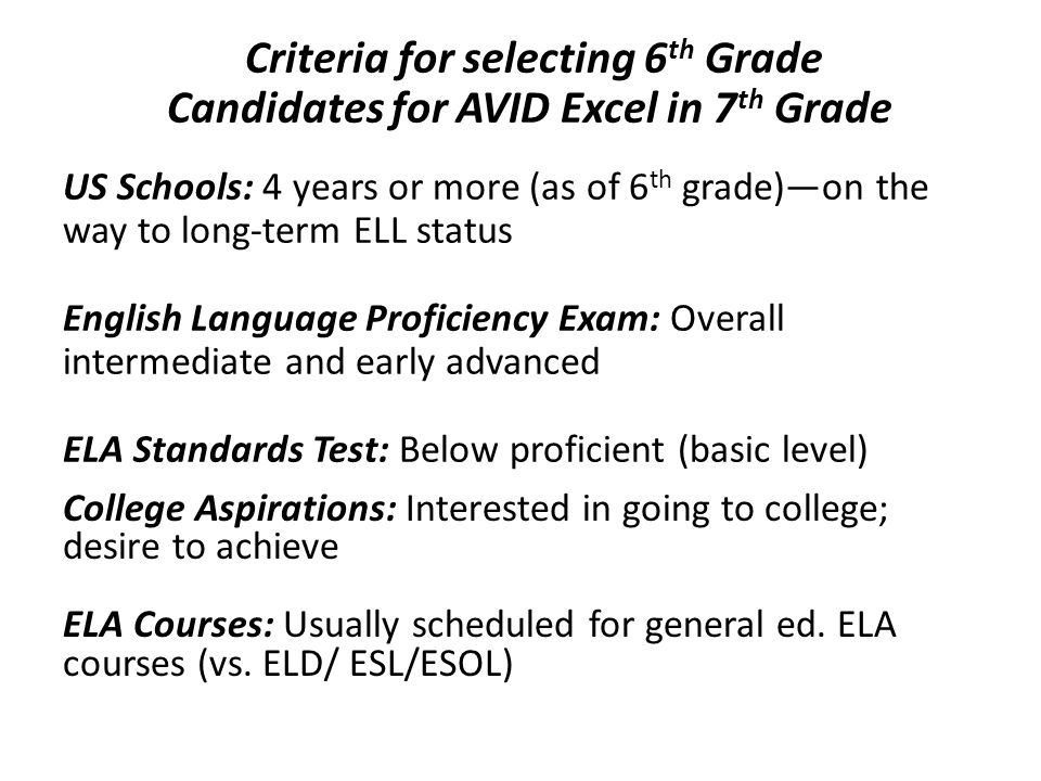 Criteria for selecting 6 th Grade Candidates for AVID Excel in 7 th Grade US Schools: 4 years or more (as of 6 th grade)—on the way to long-term ELL s