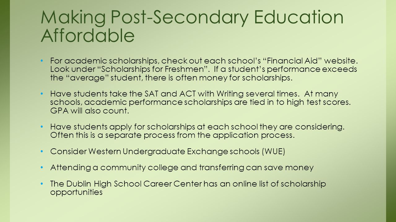 For academic scholarships, check out each school's Financial Aid website.