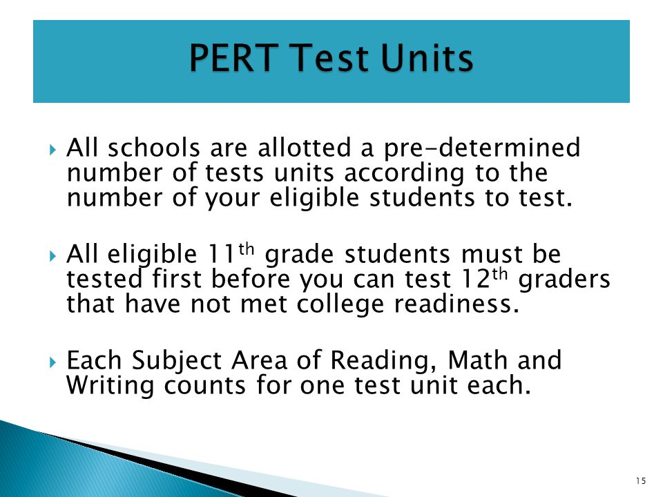  All schools are allotted a pre-determined number of tests units according to the number of your eligible students to test.