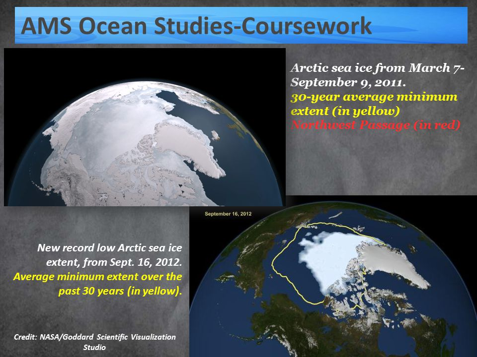 AMS Ocean Studies-Coursework Arctic sea ice from March 7- September 9, 2011.