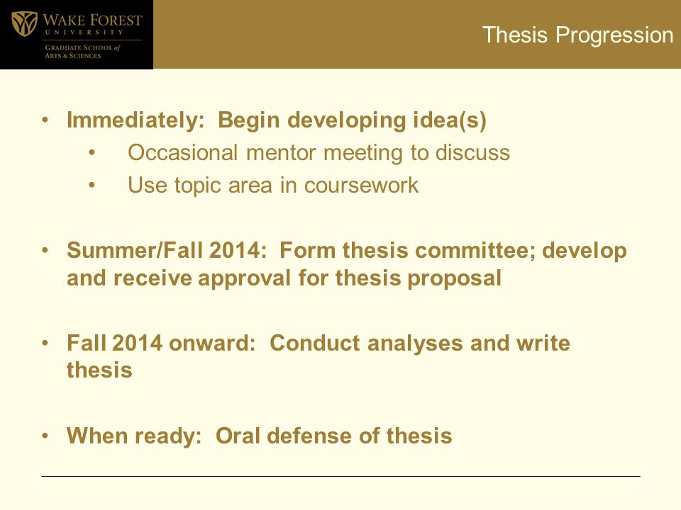 Thesis Progression Immediately: Begin developing idea(s) Occasional mentor meeting to discuss Use topic area in coursework Summer/Fall 2014: Form thes