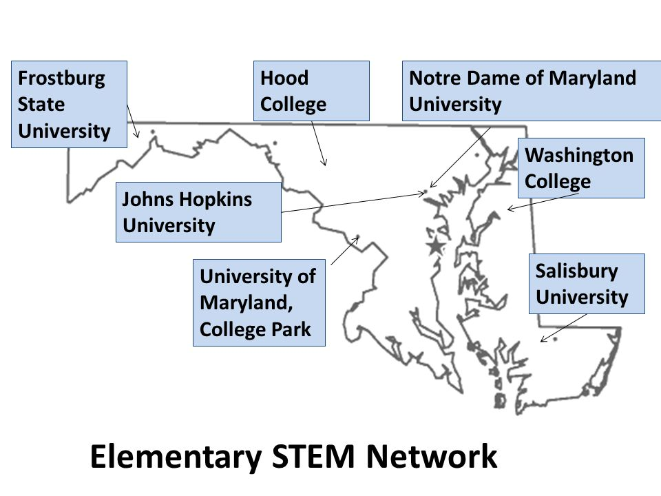 Notre Dame of Maryland University Salisbury University Hood College Frostburg State University University of Maryland, College Park Washington College Johns Hopkins University Elementary STEM Network