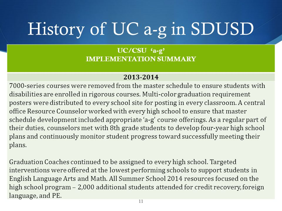 History of UC a-g in SDUSD UC/CSU 'a-g' IMPLEMENTATION SUMMARY 2013-2014 7000-series courses were removed from the master schedule to ensure students with disabilities are enrolled in rigorous courses.