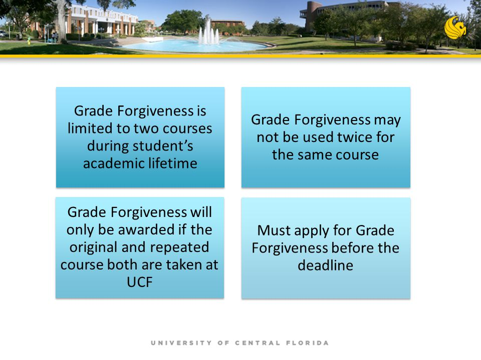Grade Forgiveness is limited to two courses during student's academic lifetime Grade Forgiveness may not be used twice for the same course Grade Forgi