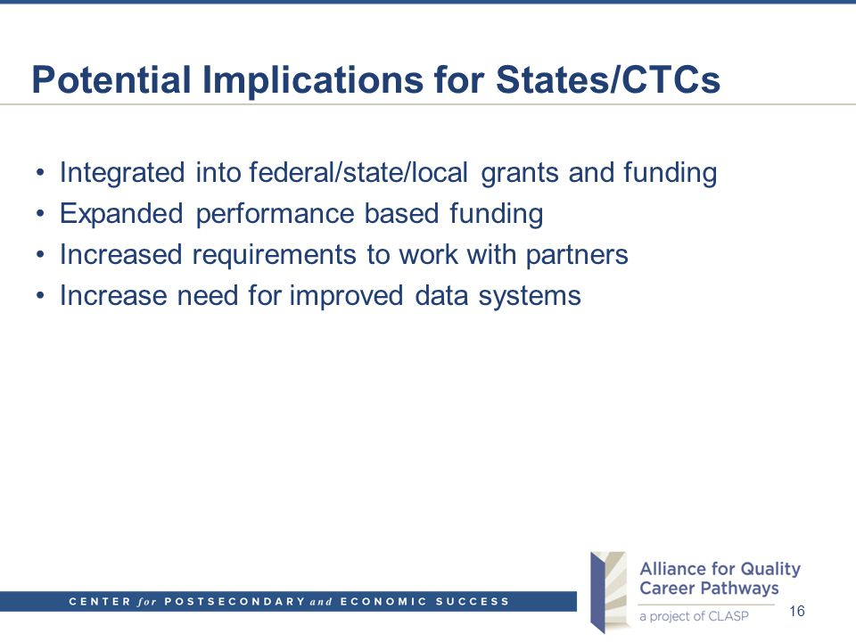 Potential Implications for States/CTCs Integrated into federal/state/local grants and funding Expanded performance based funding Increased requirement