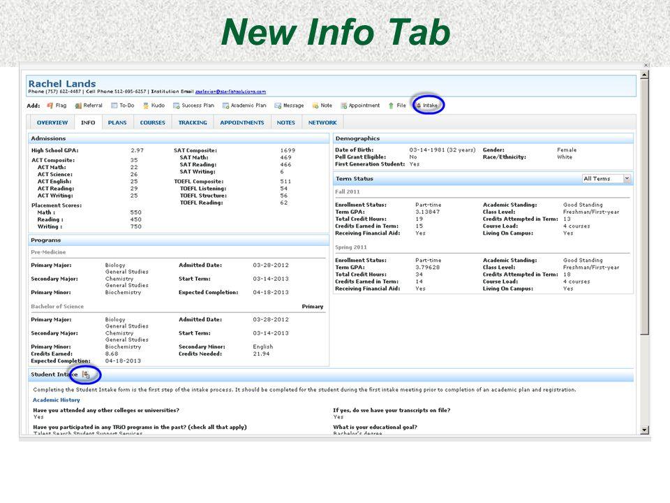 New Info Tab