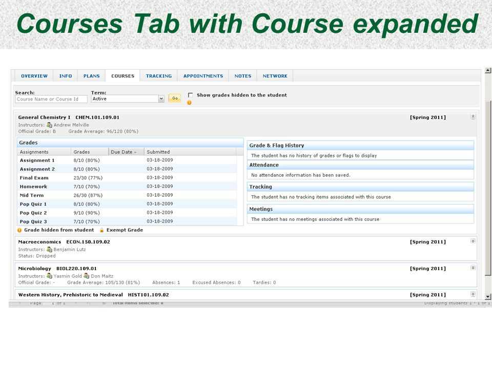 Courses Tab with Course expanded Slide 23
